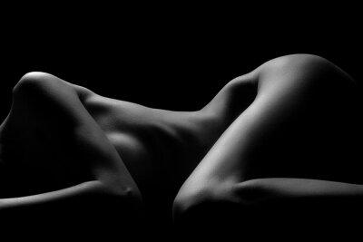 Sticker Sexy corps femme nue. Naked belle fille sensuelle. Photo artistique en noir et blanc.