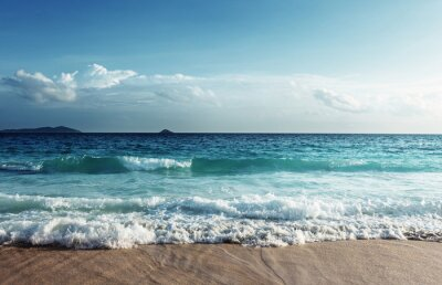 Sticker Seychelles, plage, coucher soleil, temps