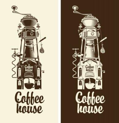 Sticker Signe, retro, café, maison, broyeur, toit
