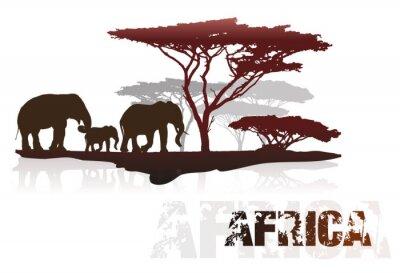 Sticker Silhouette, africaine, Arbres, éléphants