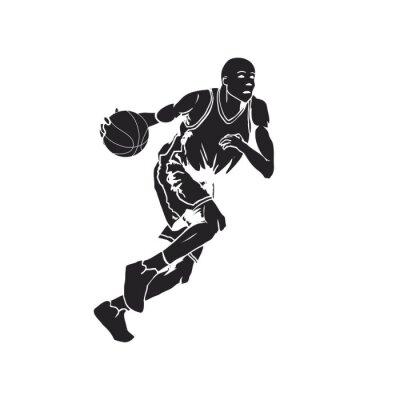 Sticker Silhouette, basket-ball, joueur, dribble, balle
