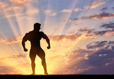 Sticker Silhouette, bodybuilder, poses, Coucher soleil