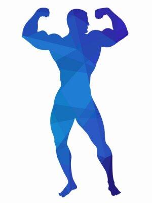 Sticker Silhouette, bodybuilder, vecteur, dessin