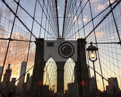 Silhouette, Brooklyn, pont, bâtiment, Coucher soleil, ciel, Manhattan, Brooklyn