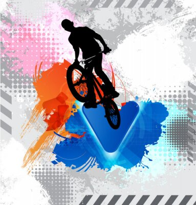 Sticker Silhouette d'un cycliste.