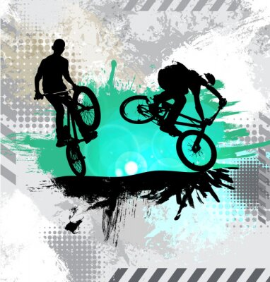 Sticker Silhouette d'un cycliste, vector