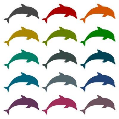 Sticker Silhouette, dauphin, icônes, ensemble