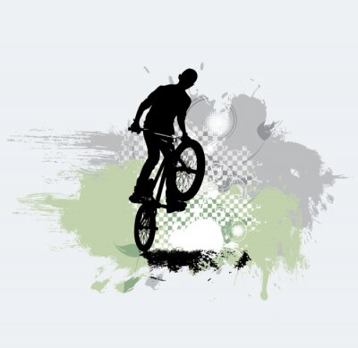 Sticker Silhouette de cavalier de bicyclette