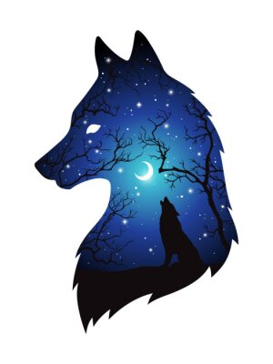ever popular look out for newest Sticker: Silhouette de double exposition de loup dans la forêt de nuit,