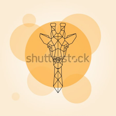 Sticker Silhouette de lignes géométriques tête girafe isolé sur un cercle orange. Illustration vectorielle