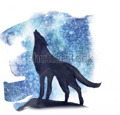Sticker silhouette de loup sur fond de l'aquarelle des aurores boréales. Aurores boréales