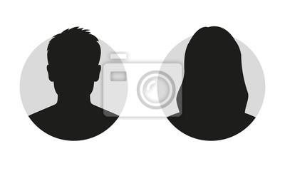 Sticker Silhouette de visage masculin et féminin ou une icône. Profil d'avatar homme et femme. Personne inconnue ou anonyme. Illustration vectorielle