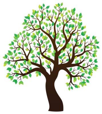 Sticker Silhouette, feuilles, arbre, thème, 1
