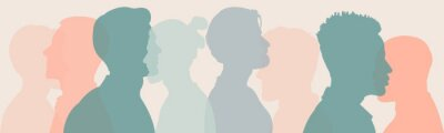 Sticker Silhouette group of multiethnic women and man who talk and share ideas and information. Communication and friendship women or girls of diverse cultures. Women social network community. Speak