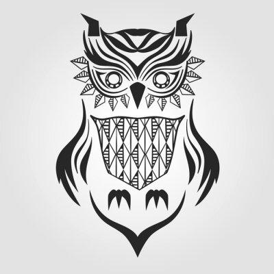 Sticker Silhouette hibou. conception graphique. Illustration vectorielle.