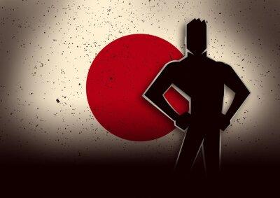 Sticker Silhouette, Illustration, homme, debout, devant, Japon, drapeau