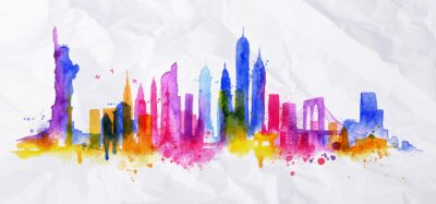 Sticker Silhouette overlay city New york