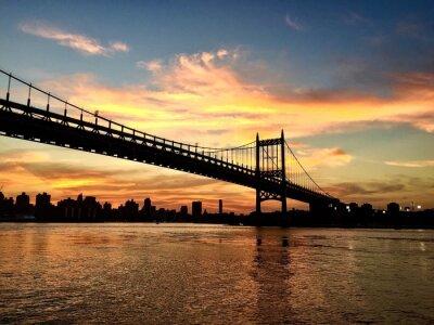 Silhouette, triborough, pont, ciel, ciel, entre, Astoria, Parc, bâtiments, Manhattan ...