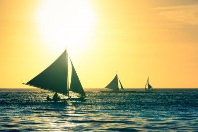 Sticker Silhouette, typique, voile, bateaux, Coucher soleil, Boracay ...