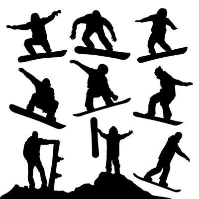Sticker Silhouettes de Snowboard