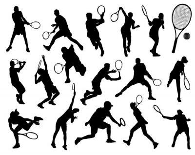Sticker Silhouettes noires de joueur de tennis, vecteur