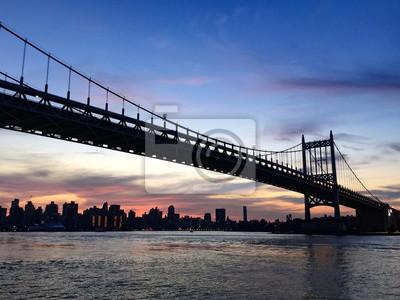 Silhoutte, Triborough, pont, Manhattan, ville, nouveau, York
