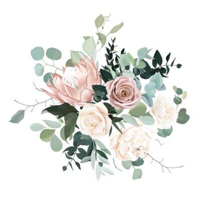 Sticker Silver sage and blush pink flowers vector design bouquet.