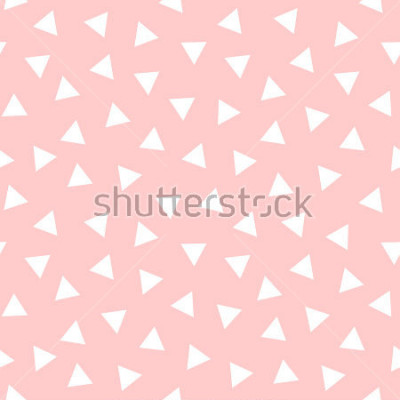Sticker Simple Triangle Seamless Pattern with Pink Background, Vector illustration