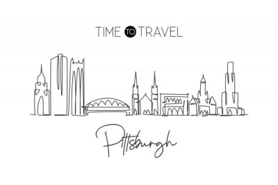 Sticker Single continuous line drawing of Pittsburgh city skyline, Pennsylvania. Famous city landscape. World travel concept home wall decor print poster art. Modern one line draw design vector illustration