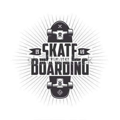 Sticker Skateboarding t-shirt design. Urban skating. Skateboard typography. Vector vintage illustration.