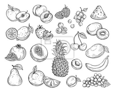Sticker Sketch fruits. Strawberry melon, peach mango. Banana pineapple, raspberry grapes hand drawn fruit berry vector set. Illustration of melon and banana, cherry and lemon