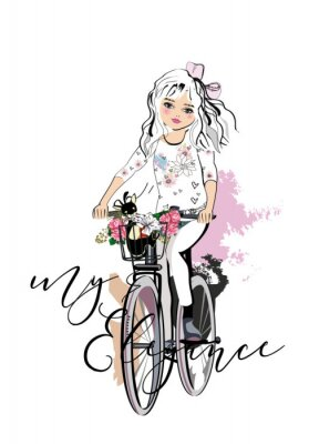 Sticker Sketch of a cute fashion girl with a dog riding the bicycle. Hand drawn vector illustration.