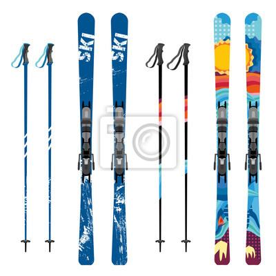 Sticker Ski de montagne de vecteur et bâtons détaillés sur fond blanc. Skis de montagne et bâtons de sport