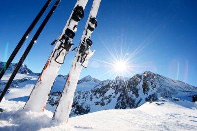 Sticker Ski, équipement, élevé, montagnes, neige, hiver