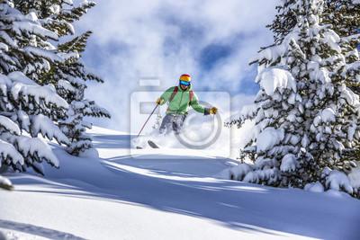Sticker Ski hors piste dans la poudreuse profonde