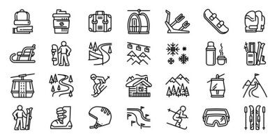 Sticker Ski resort icons set. Outline set of ski resort vector icons for web design isolated on white background