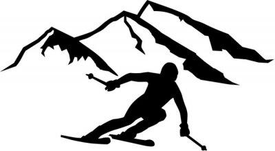 Sticker Ski Run Montagnes Contexte