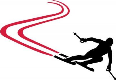 Sticker Ski Run Red piste