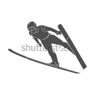 Sticker Skieur sauteur de silhouette sur fond blanc. Illustration photo