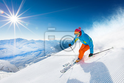 Sticker Skieur ski alpin en haute montagne