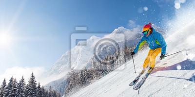 Sticker Skieur, ski alpin, haute montagne