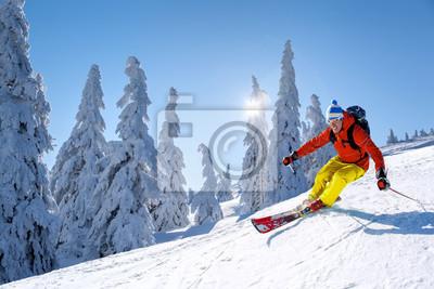 Sticker Skieur, ski alpin, haute montagne, contre, ciel bleu