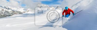 Sticker Skieur, ski, descendre, élevé, montagnes, frais, poudreux, neige Sa
