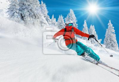 Sticker Skieur, ski, descendre, haut, montagnes