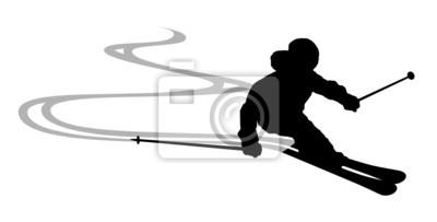 Sticker Skifahrer Spuren