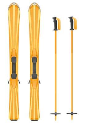 Sticker skis vecteur de montagne illustration