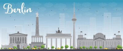 Sticker Skyline Berlin bâtiment gris et bleu ciel.