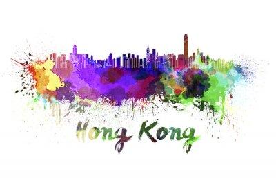 Sticker Skyline de Hong Kong à l'aquarelle
