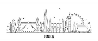 Sticker Skyline de Londres, Angleterre, vecteur de bâtiments de la ville UK