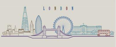 Sticker Skyline de Londres. Fond de vecteur Illustration graphique de contour.